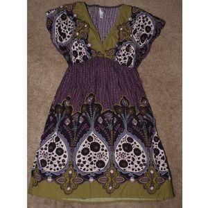 Xhilaration Green and purple floral pattern dress